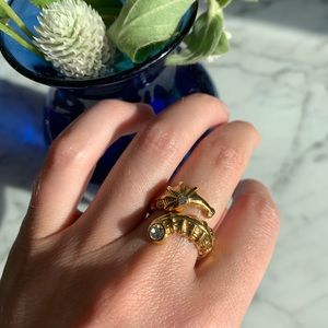 Kate Spade gold seahorse ring with rhinestone